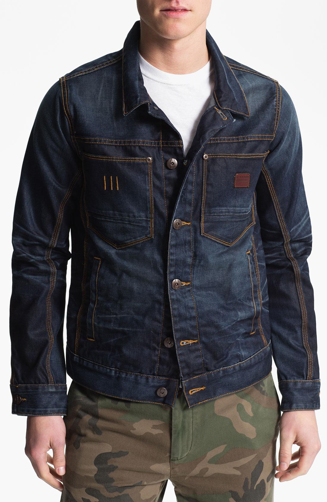 g star raw ranch denim jacket in blue for men dark aged lyst. Black Bedroom Furniture Sets. Home Design Ideas