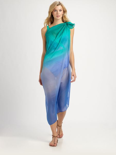 Gottex Silk Rainbow Goddess Pareo in Blue