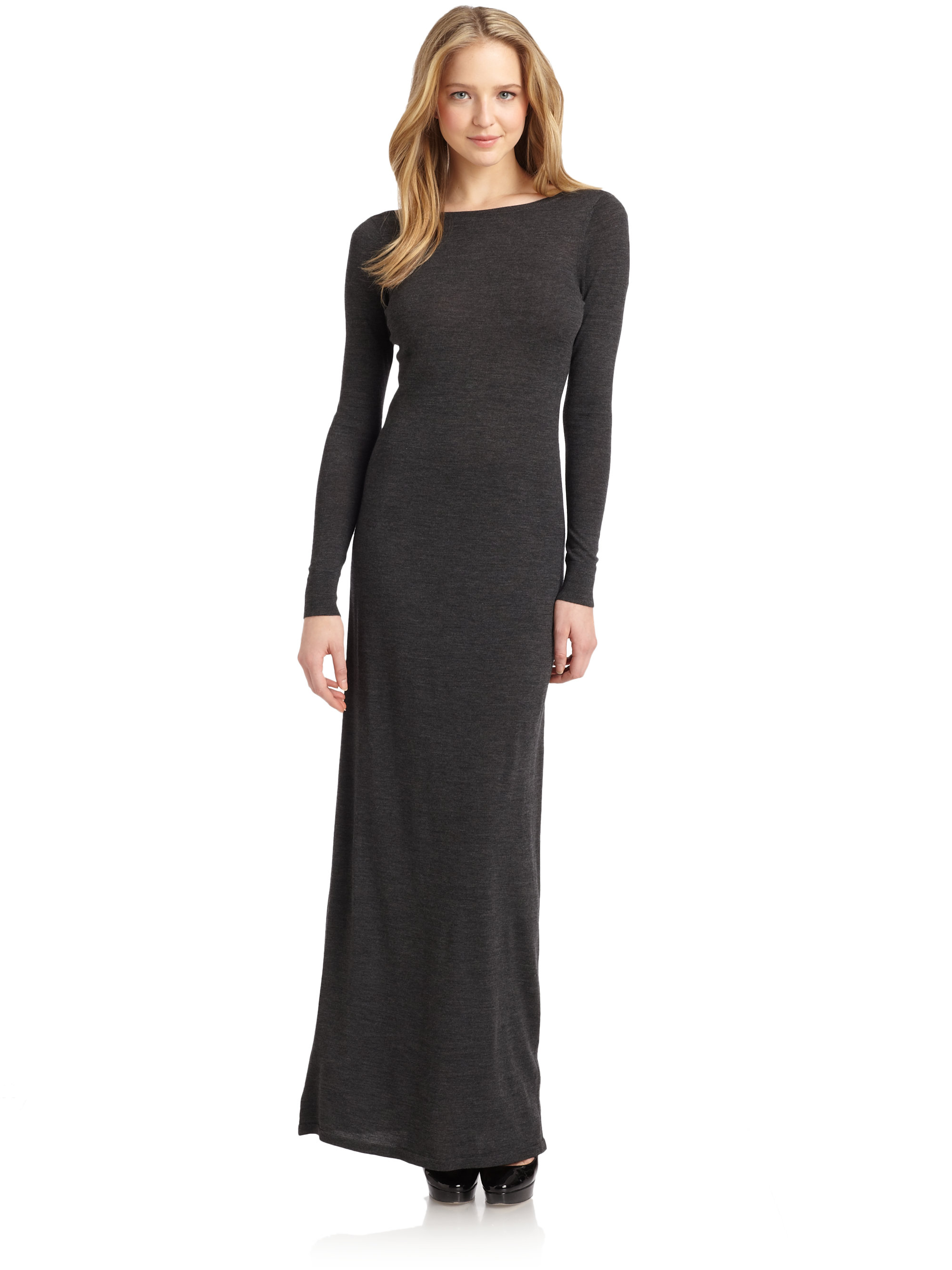 Halston Merino Wool Maxi Dress in Gray | Lyst