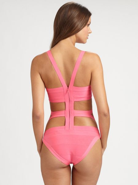 Herv 233 L 233 Ger Onepiece Cutout Bandage Swimsuit In Pink Lyst