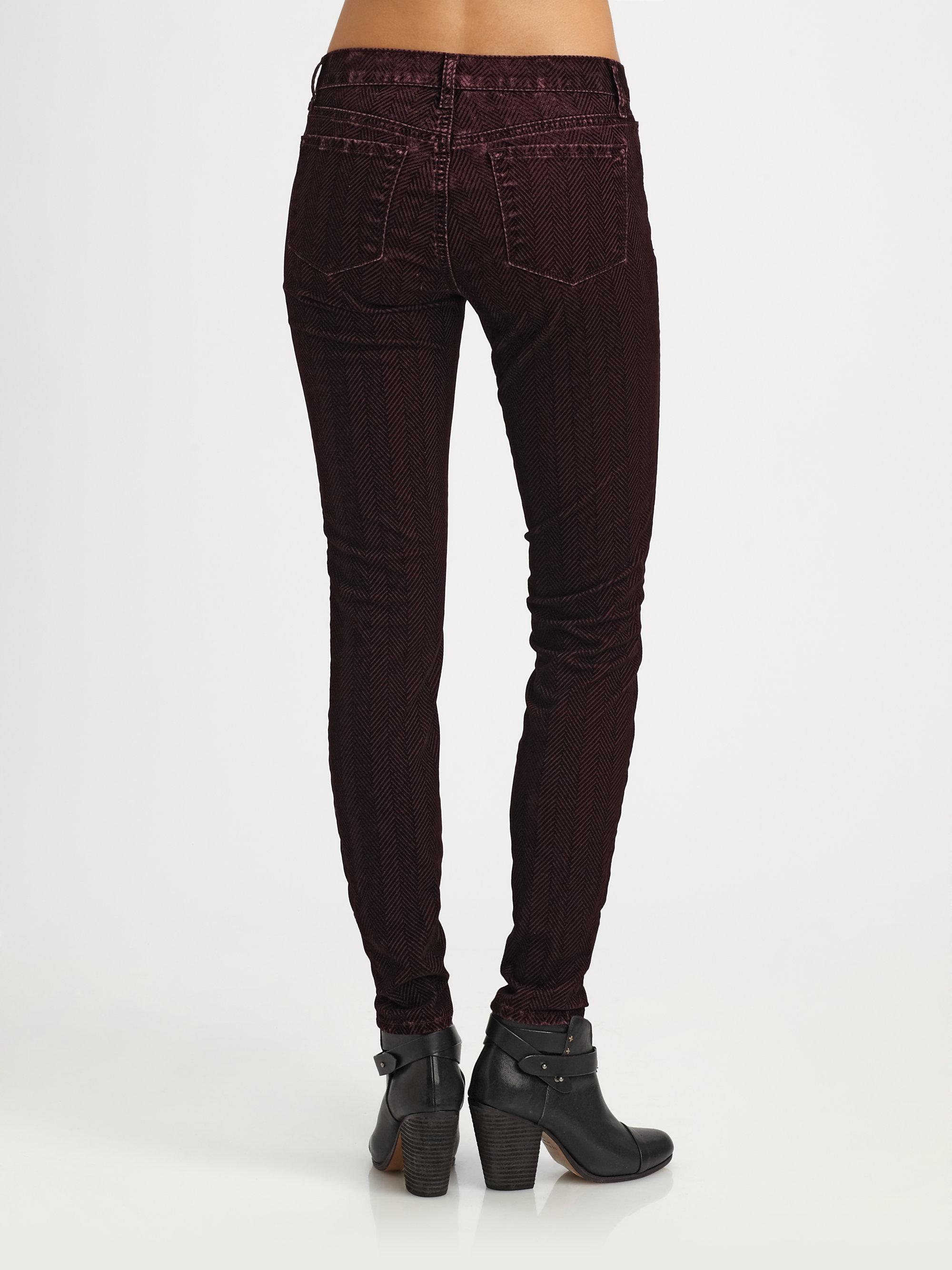 J brand Velvet Skinny Jeans in Red | Lyst