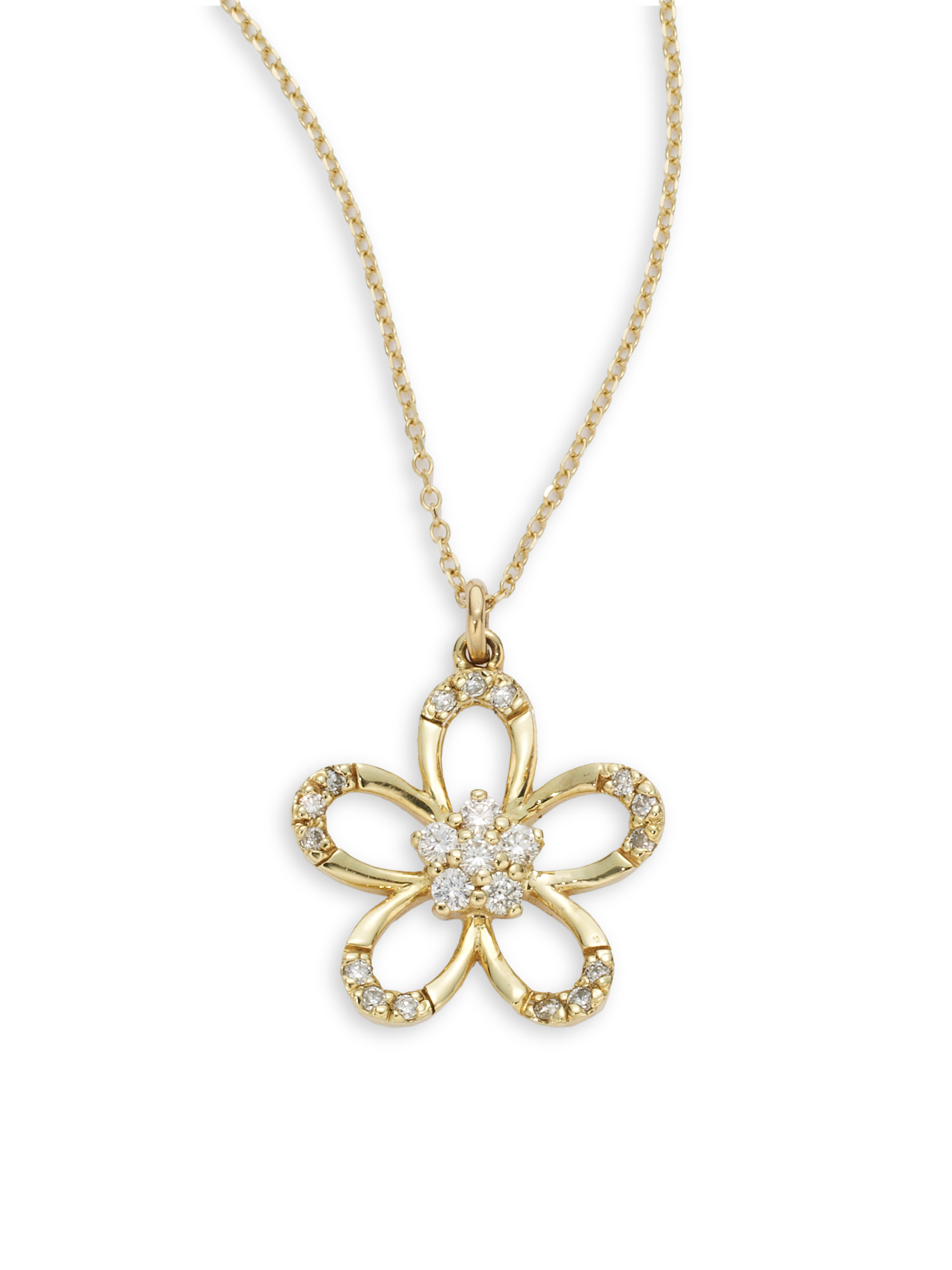 white tous gold pave necklace diamond jewelry pendant flower