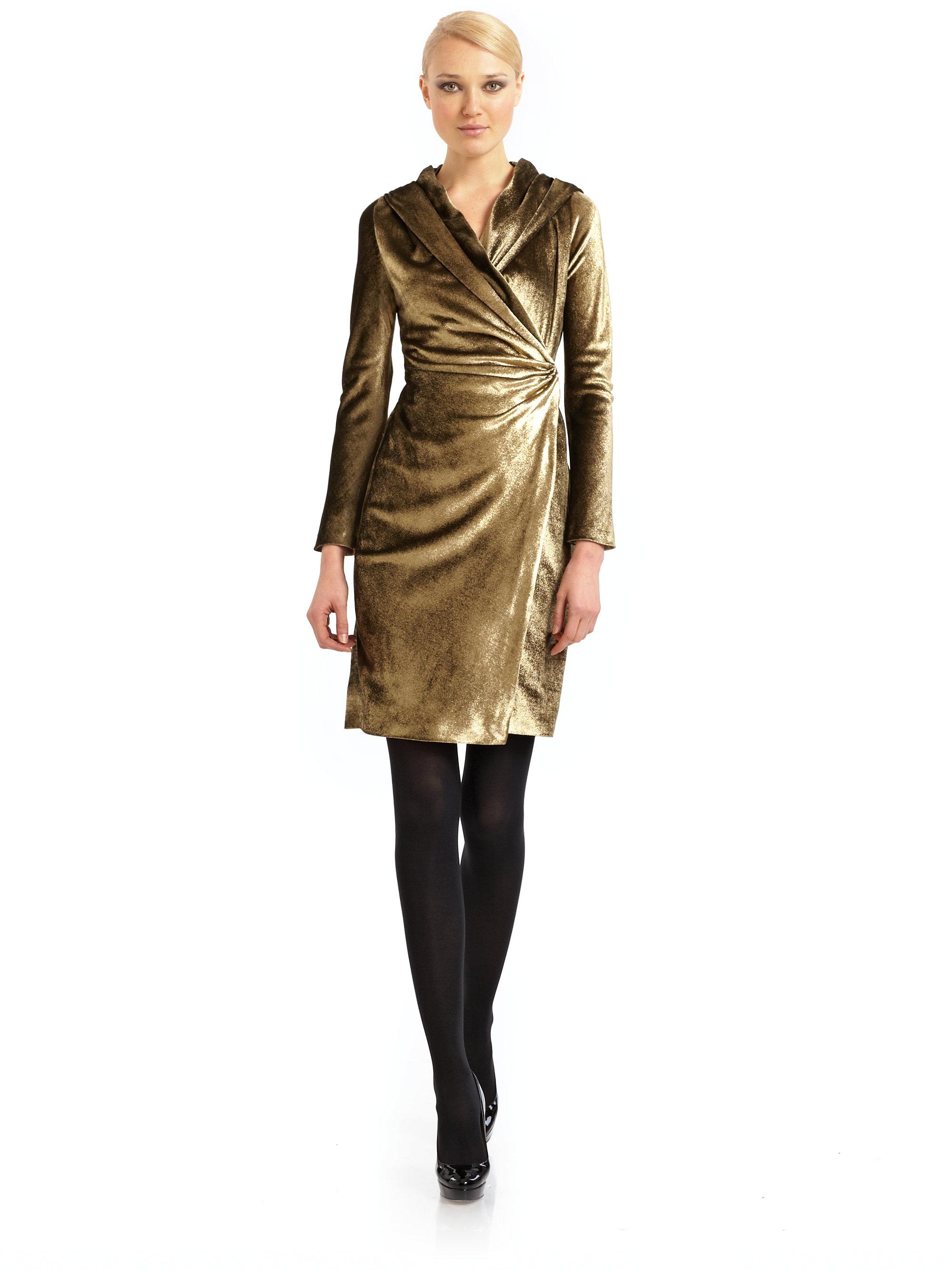 Max mara Metallic Velvet Wrap Dress in Metallic | Lyst