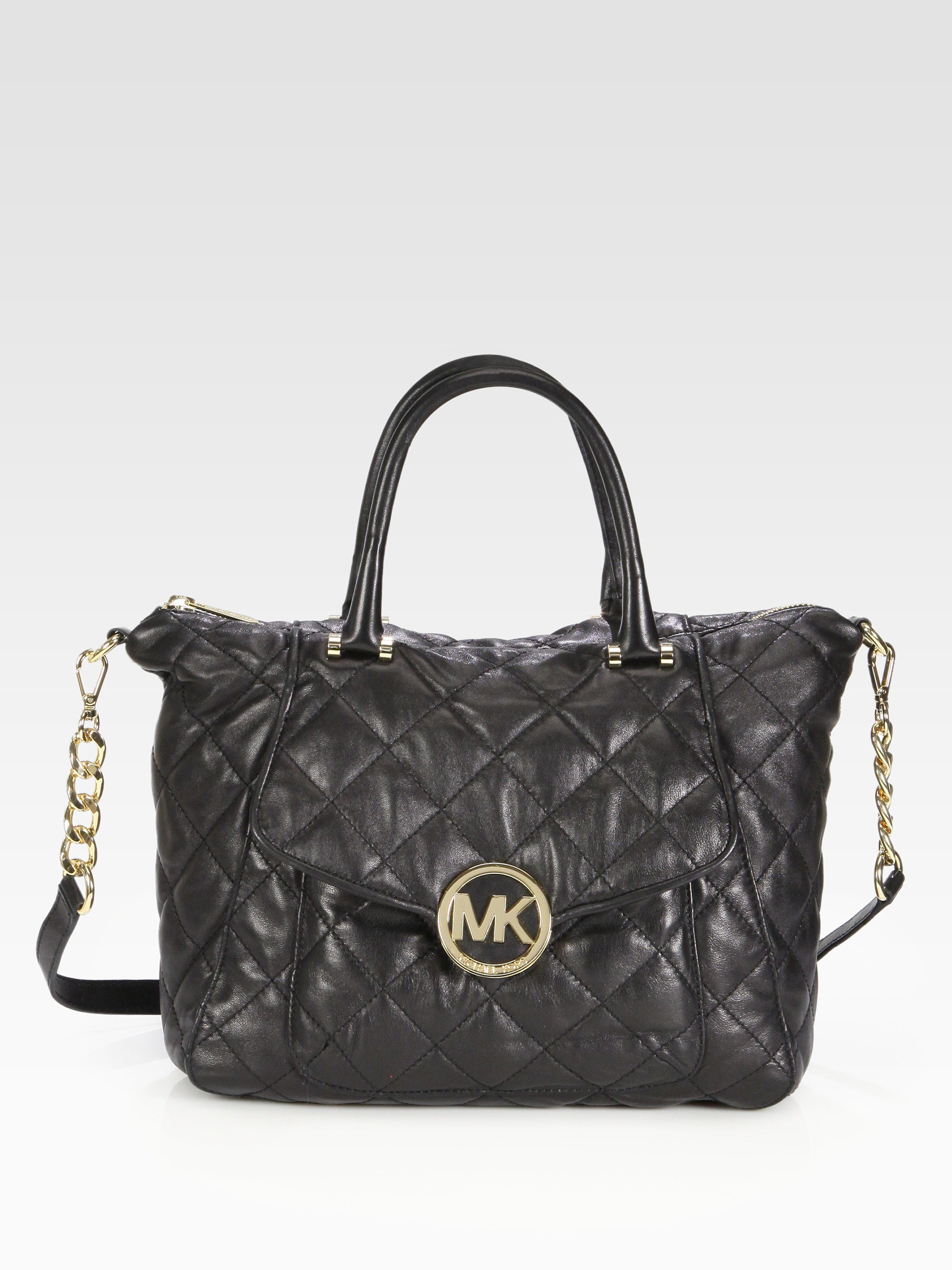 michael michael kors fulton quilted leather satchel in black lyst. Black Bedroom Furniture Sets. Home Design Ideas