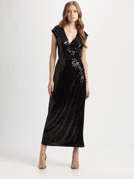 Michael Michael Kors Sequin Wrap Dress In Black Lyst