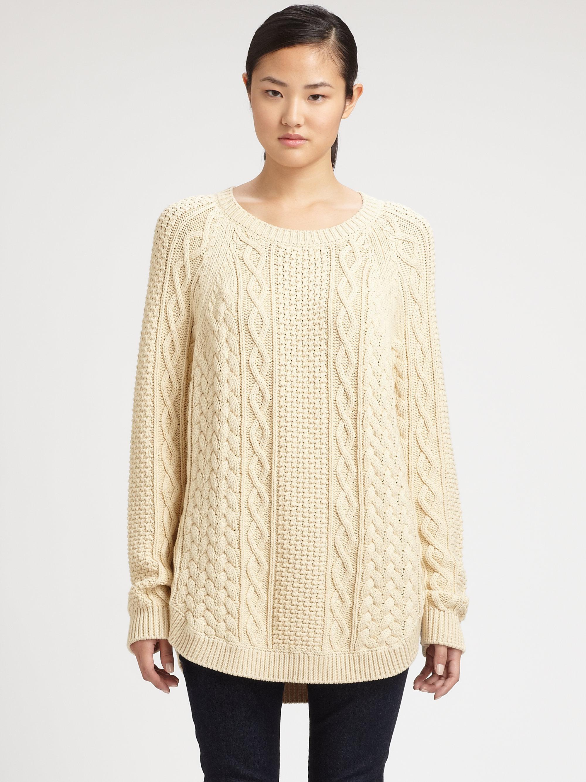 e058de8c3 MICHAEL Michael Kors Fisherman Cableknit Sweater in Natural - Lyst