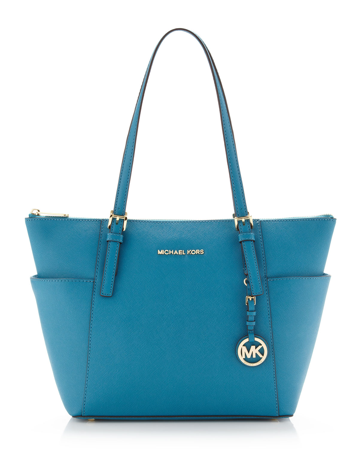 michael michael kors jet set topzip saffiano tote in blue. Black Bedroom Furniture Sets. Home Design Ideas