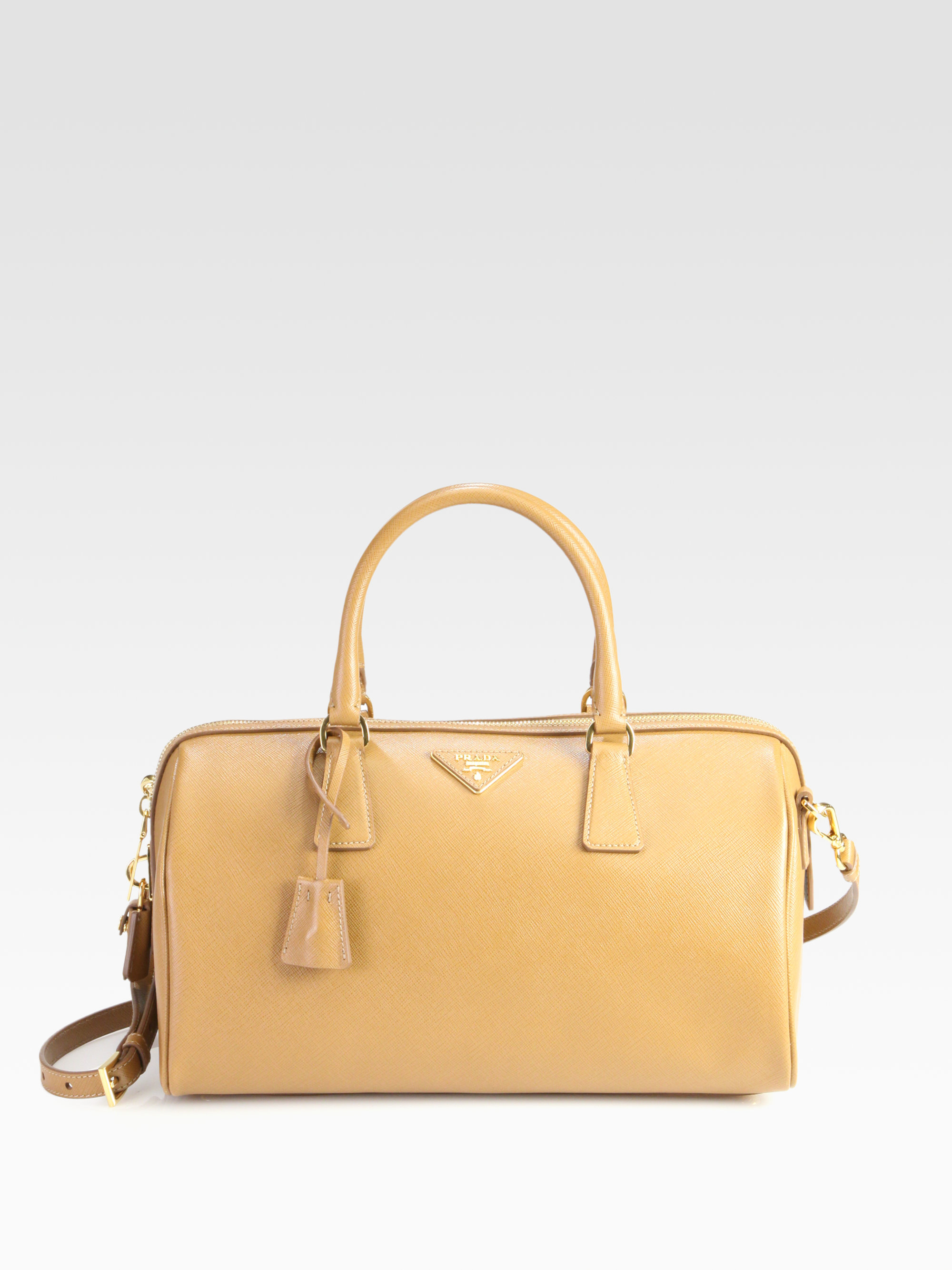 Prada Convertible Saffiano Lux Boston Bag in Beige (caramel) | Lyst