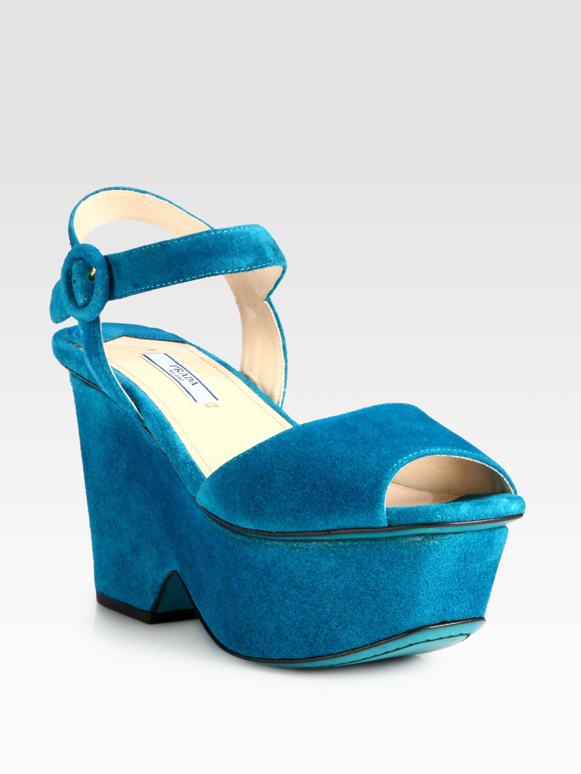 8bf1d6fe4cba Lyst - Prada Suede Platform Sandals in Blue