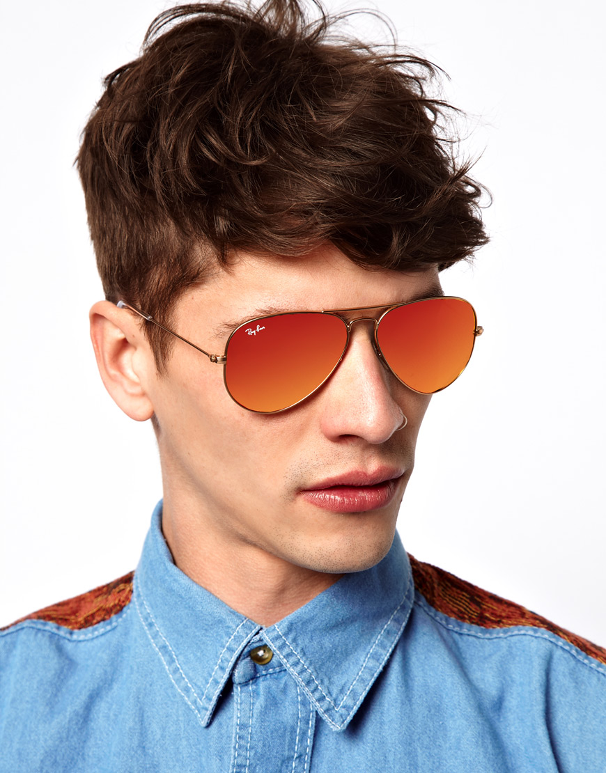 db38edfef7fd86 Lyst - Ray-Ban Aviator Sunglasses in Red for Men