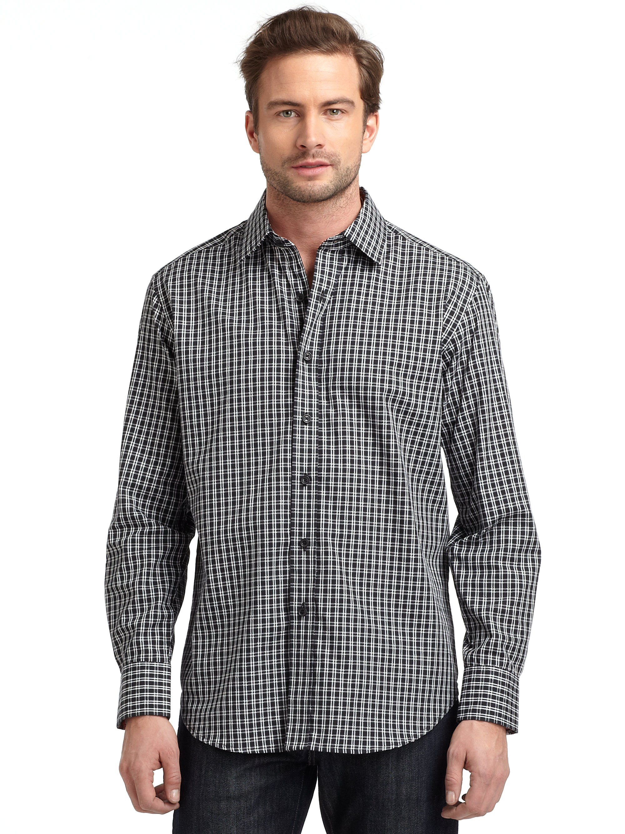 Robert graham woven cotton houndstooth check buttondown for Where are robert graham shirts made