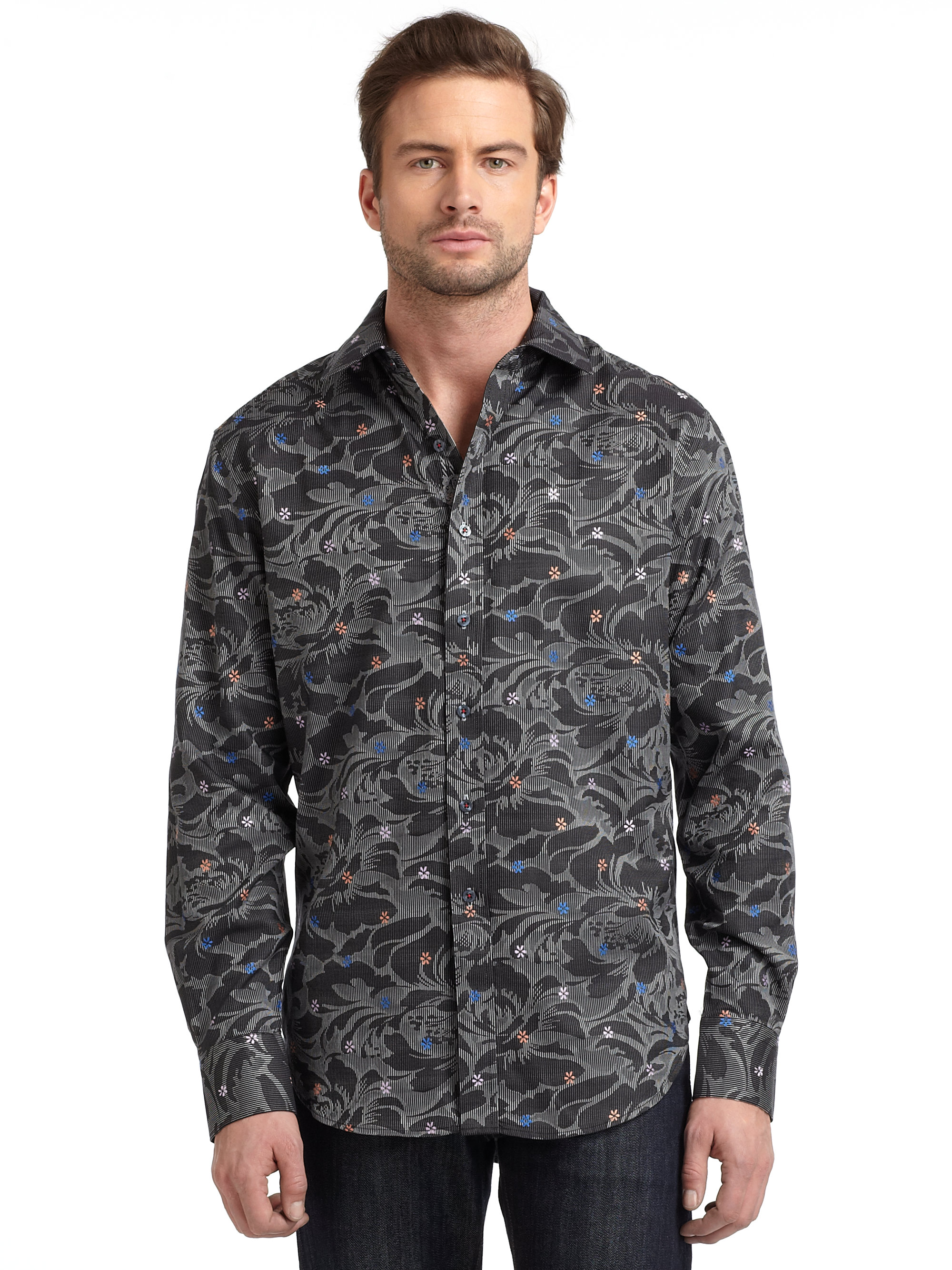 Robert Graham Woven Cotton Tonal Floral Button Down Shirt