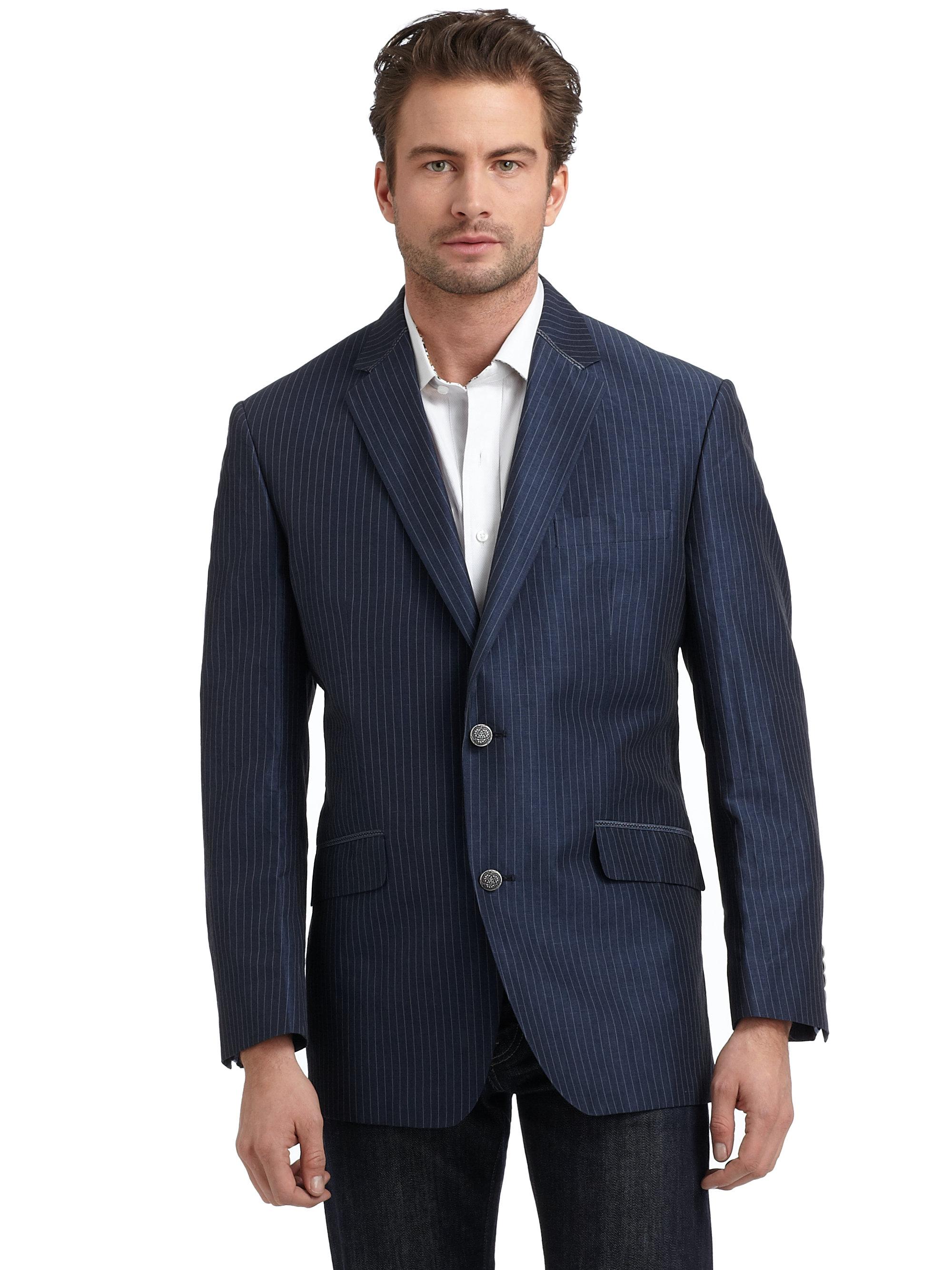Robert Graham Sirius Cotton Linen Pinstripe Blazer In Blue