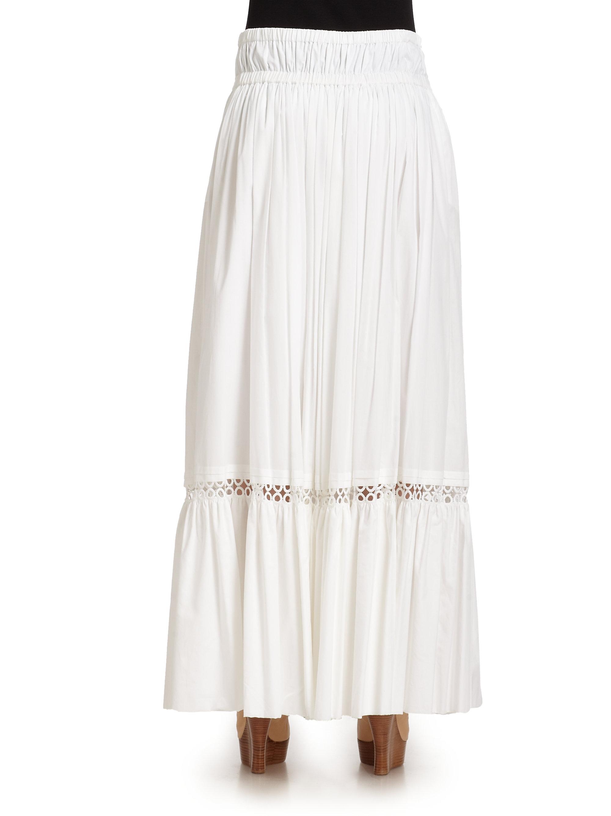 Roberto cavalli Cotton Eyelet Maxi Skirt in White | Lyst