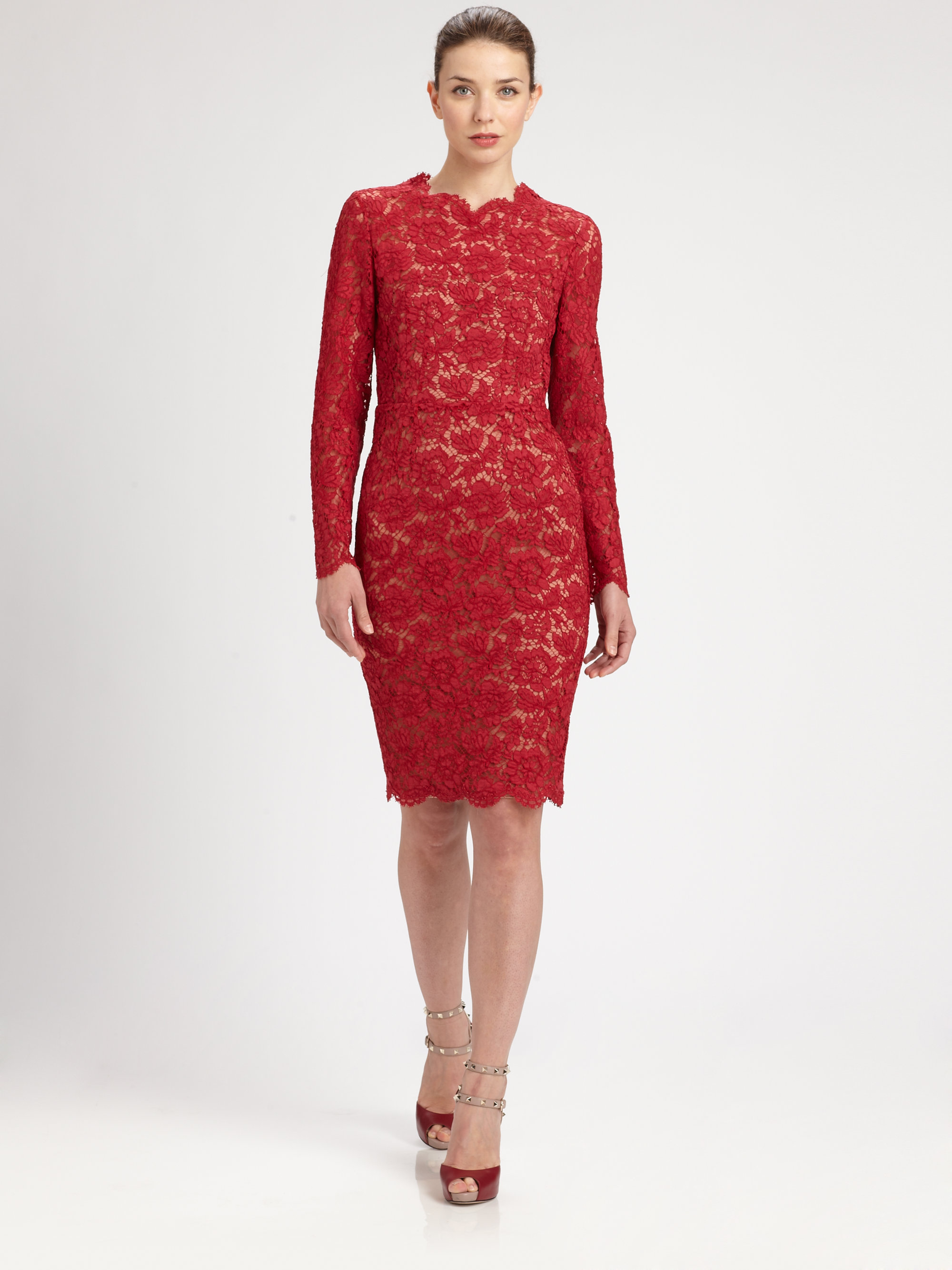 Valentino Long-sleeved Lace Dress in Red | Lyst