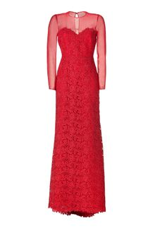 Valentino Red Lace Gown - Lyst