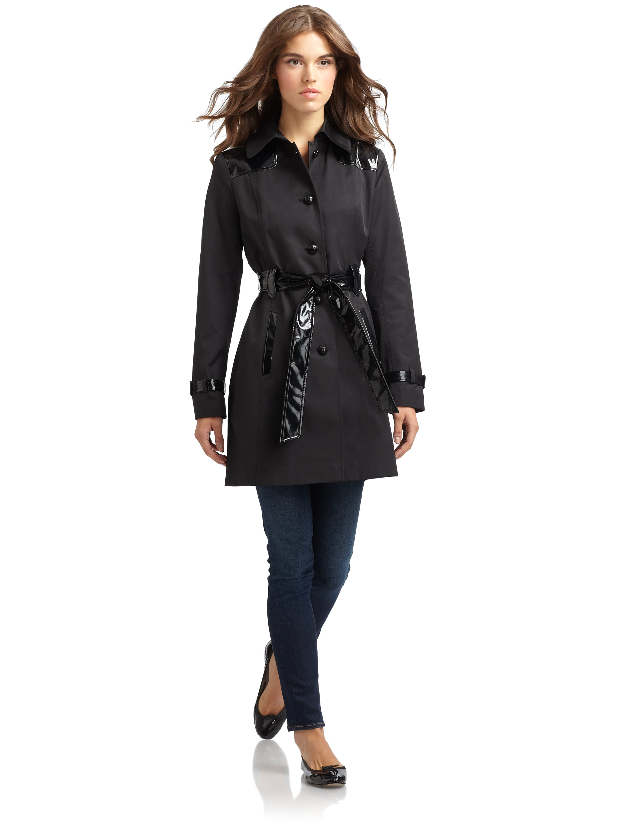 Via spiga Faux Patent Leather Trim Trench Coat in Black | Lyst