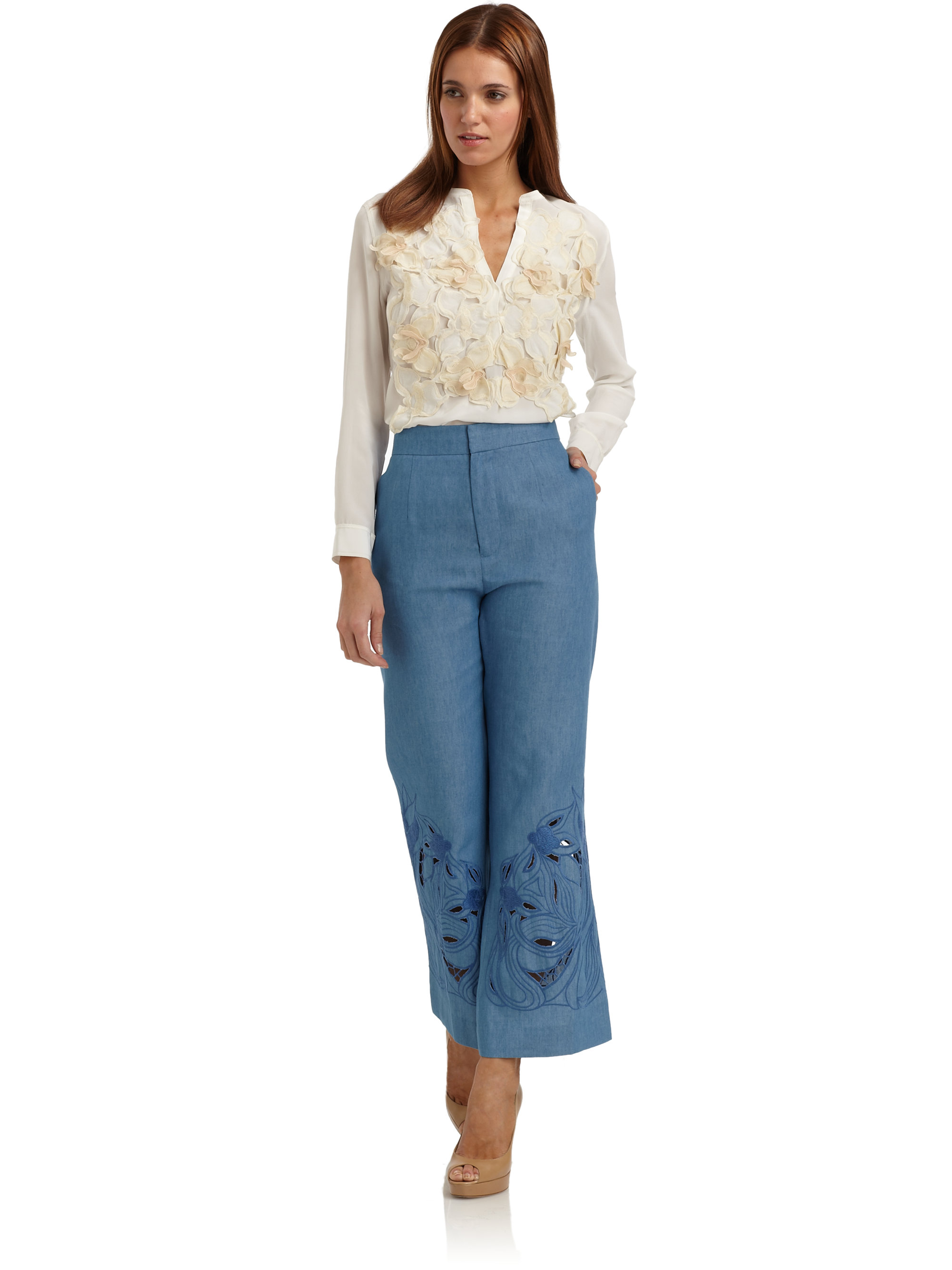 7b153ae20c167c Lyst - Vivienne Tam Silk Chiffon Floral Embroidered Blouse in White