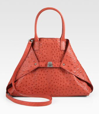 Akris Ai Small Ostrich Top Handle Bag - Lyst