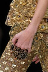 Alexander McQueen Gold Embroidery Silk Knucklebox Clutch