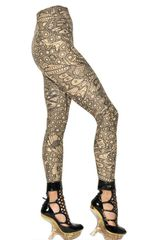 Alexander McQueen Engineered Lace Printed Lycra Leggings