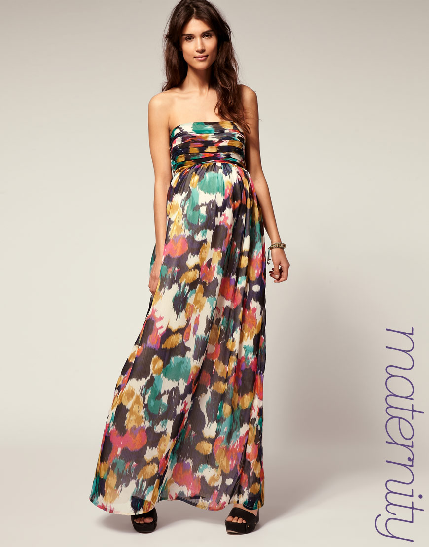 Asos collection asos maternity multi smudge print maxi lyst gallery ombrellifo Choice Image