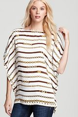 Michael Kors Michael Status Stripe Flutter Top with Studs - Lyst