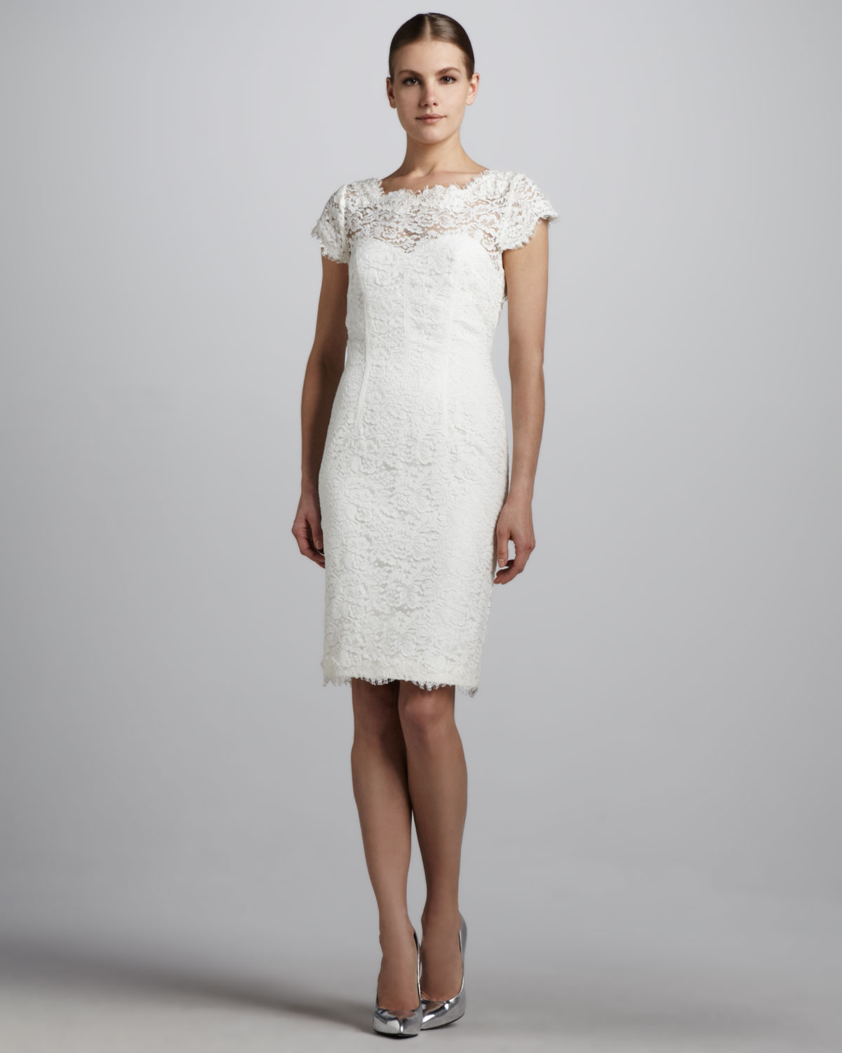 e642787d68f ML Monique Lhuillier Lace Cocktail Dress with Open Back in White - Lyst