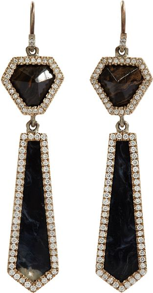 Monique Péan Stromatolite Peruvian Opal Diamond Earrings - Lyst
