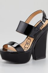 Kelsi Dagger Holly Patent Leather Wedge Sandal - Lyst