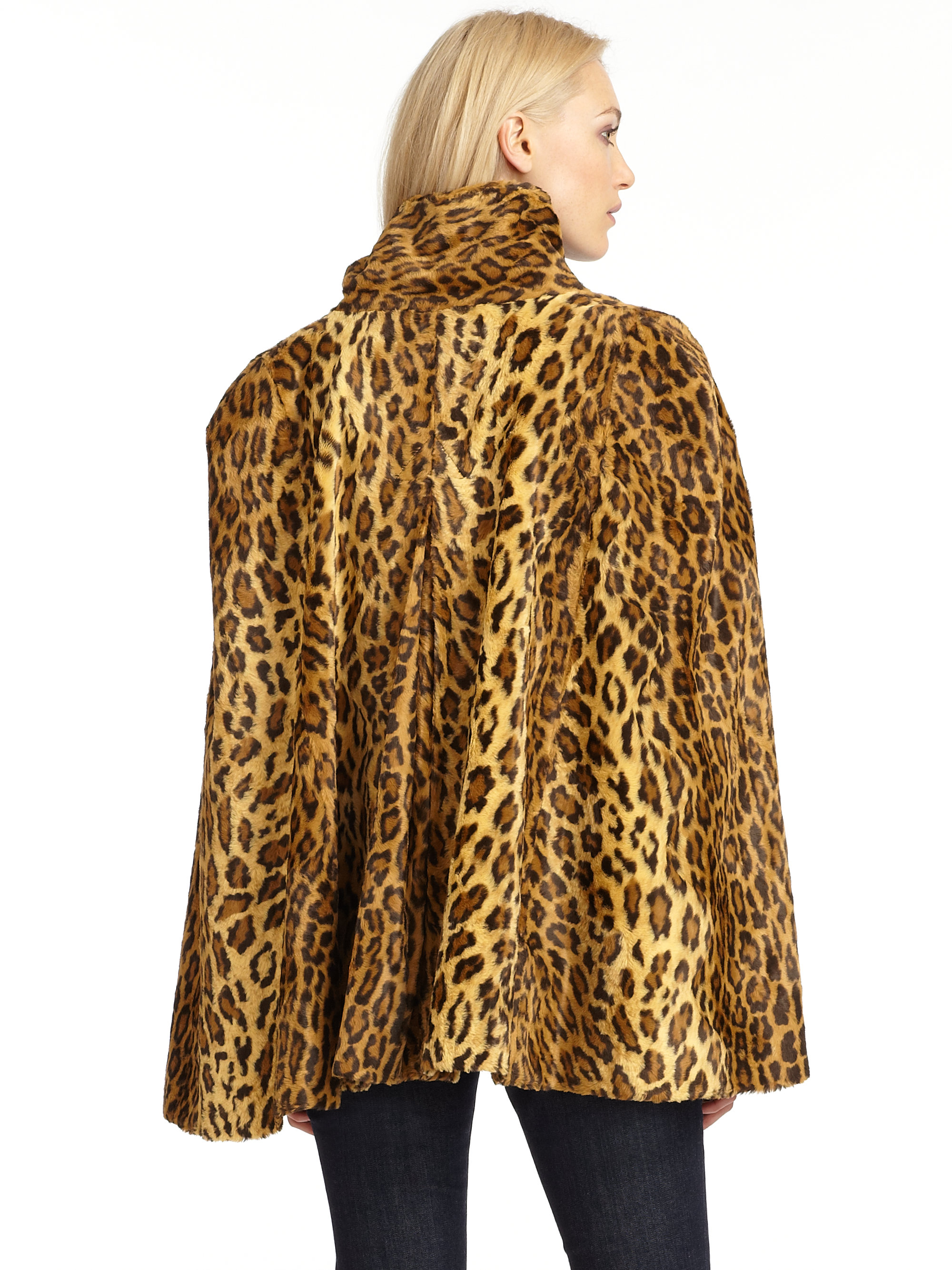 Wren Faux Leopard Fur Cape Coat In Animal Leopard Lyst