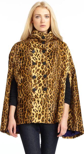 Wren Faux Leopard Fur Cape Coat In Animal Leopard Lyst