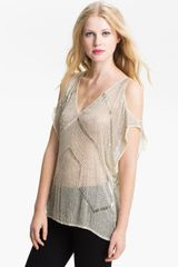 Parker Cutout Embellished Sheer Silk Top - Lyst
