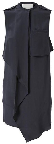 3.1 Phillip Lim Draped Silk Utility Dress - Lyst