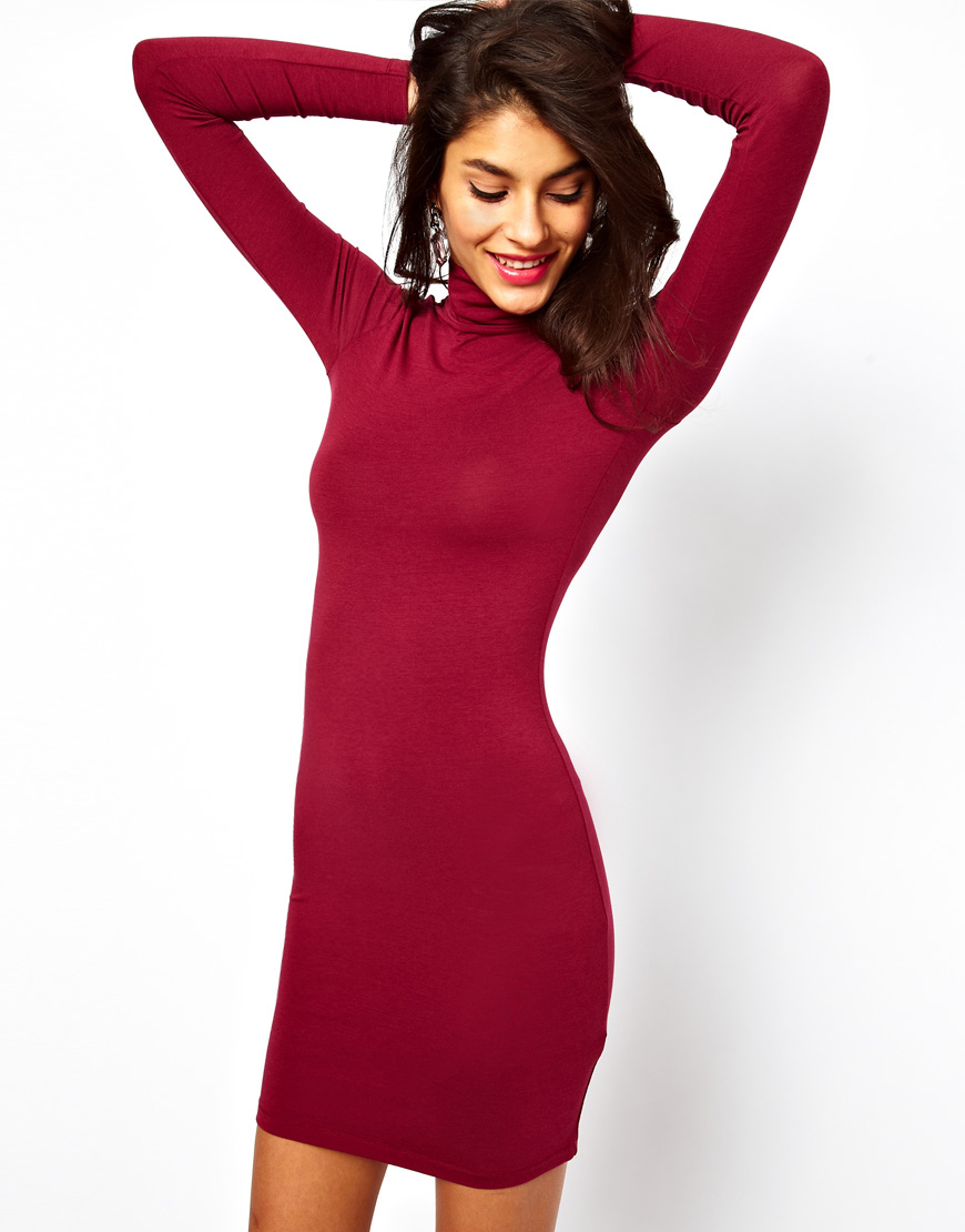 Asos Mini Bodycon Dress With Poloneck In Red Lyst