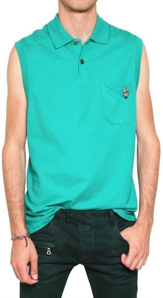 Balmain Cotton Piquet Sleeveless Polo In Green For Men Lyst