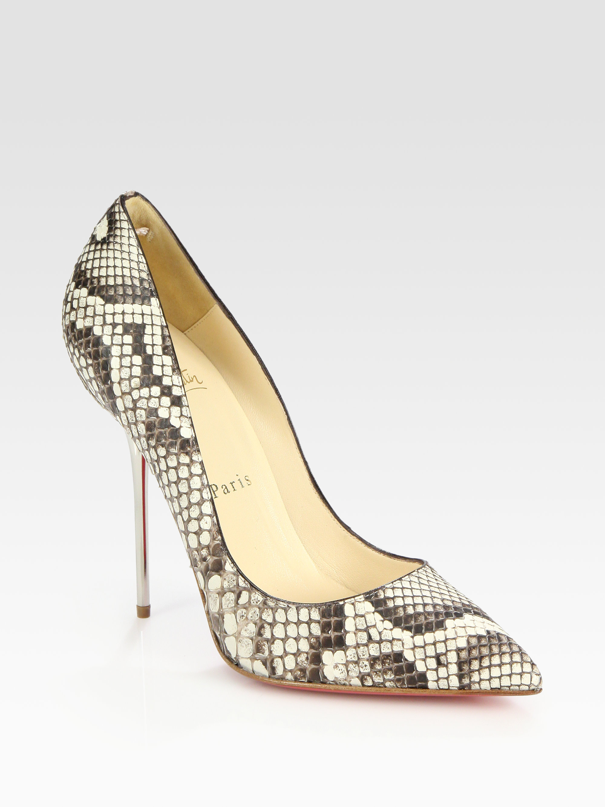 christian louboutin pointed-toe pumps Grey python | The Little ...