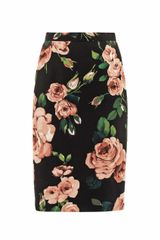 Dolce & Gabbana Roseprint Pencil Skirt - Lyst