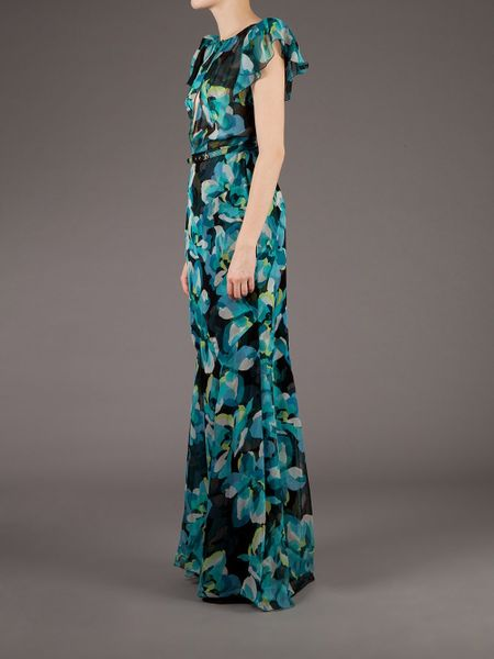 Gucci Floral Sheer Maxi Dress In Green Floral Lyst