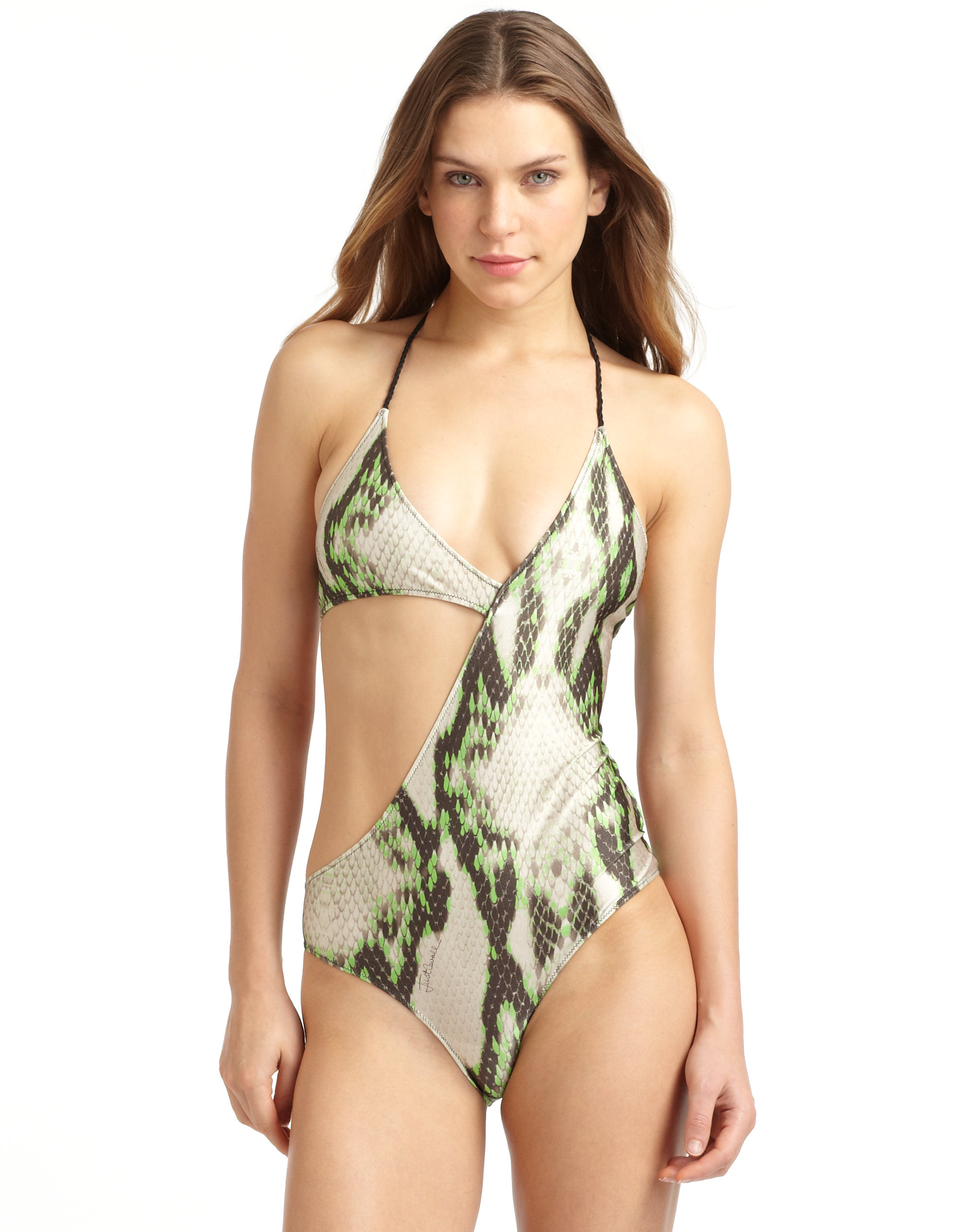 ebd5f2886b49a Just Cavalli Snake Print Asymmetrical One-piece Swimsuit in Green - Lyst