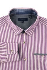 Ted Baker Ardnew Flannel Stripe Shirt in Purple for Men - Lyst