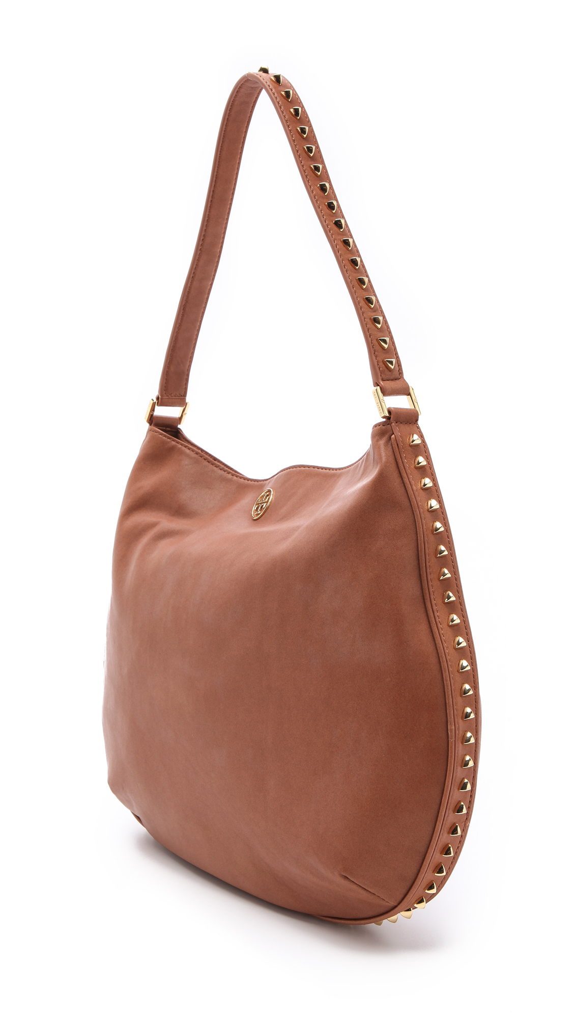 a91a5e69dc15 Lyst - Tory Burch Pyramid Stud Hobo in Brown