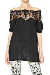 Blumarine Lace Macramè On Cotton Knit Top