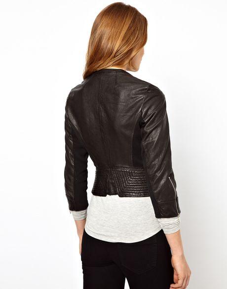 Karen Millen Leather Biker Jacket With Knitted Panel In