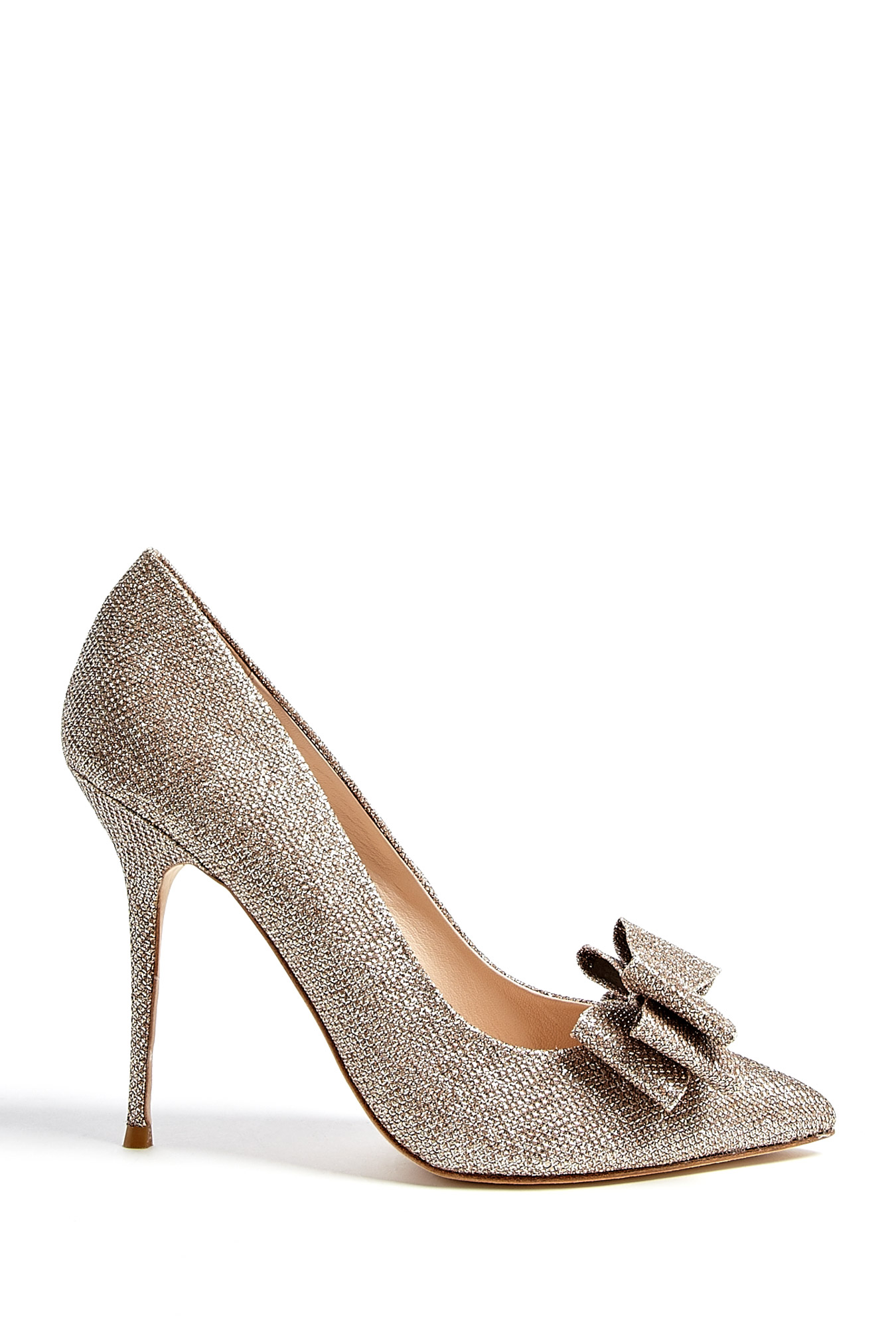 Lucy Choi London Taupe Rose High Heel Shoe With Large Bow