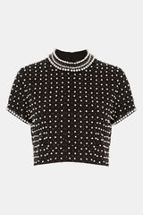 Topshop Embellished Crop Top - Lyst