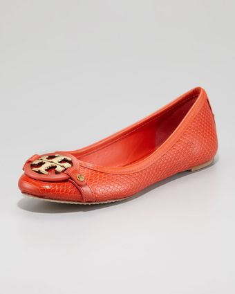 Tory Burch Aaden Snakeprint Ballet Flat Orange - Lyst