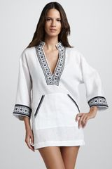 Tory Burch Tory Linen Coverup Tunic White - Lyst