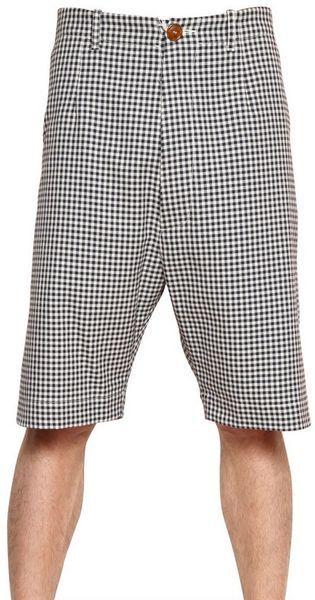 Vivienne Westwood Checked Cotton Canvas Shorts - Lyst