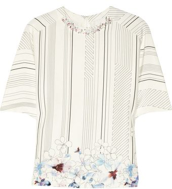 3.1 Phillip Lim Embellished Printed Silk and Cotton Blend Top - Lyst
